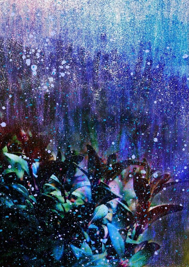 Abstrakt bakgrund med blåttsidor, tema för tecknad filmbakgrundsvinter, abstrakt vinterlandskap, vinternatttema vektor illustrationer