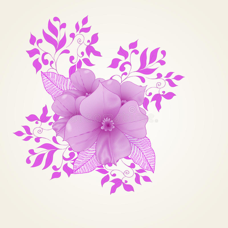 Abstrakt bakgrund med blommor i tappningstil stock illustrationer