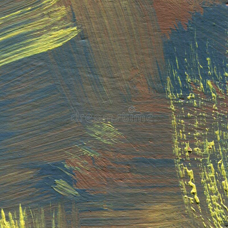 Abstrakt bakgrund med borsteslaglängder i brunt- och gulingskuggor royaltyfri illustrationer