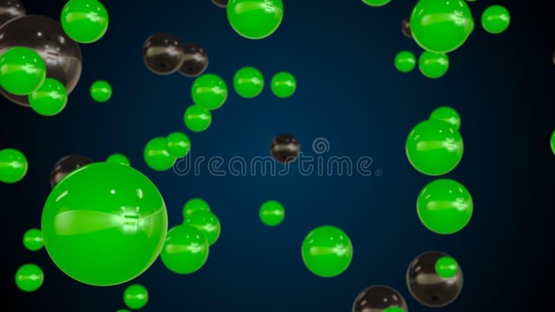 Abstrakt bakgrund med bubblapartiklar för grönt exponeringsglas arkivbild