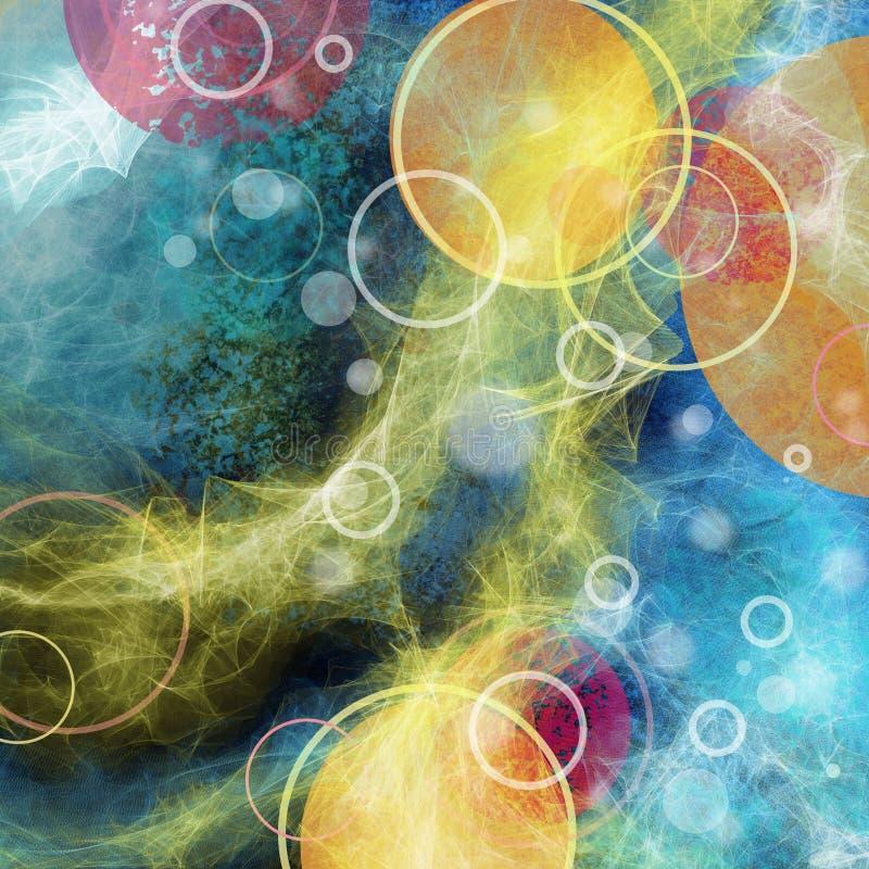 Abstrakt bakgrund med cirklar formar, cirklar, strimmor av guling royaltyfri illustrationer