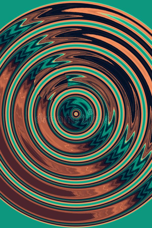 Abstrakt bakgrund med cirklar, gräsplan och brunt, flöde och flyttning royaltyfri fotografi