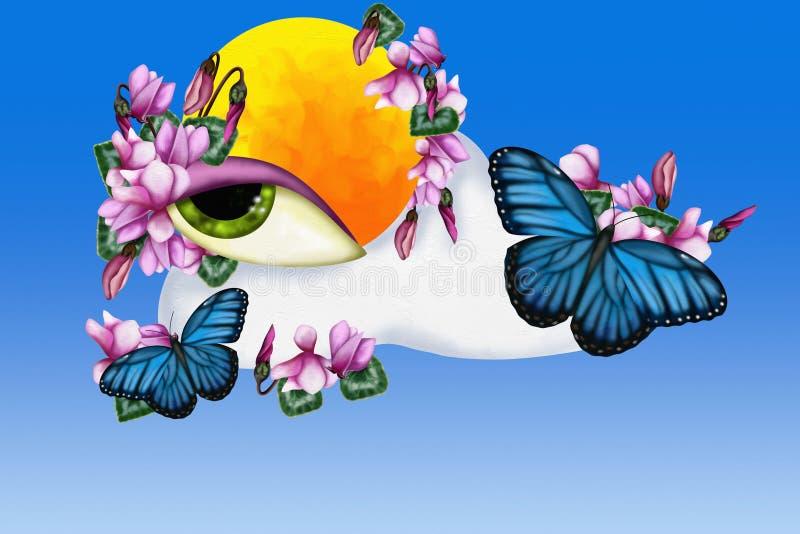 Cyclamen och fjärilar stock illustrationer