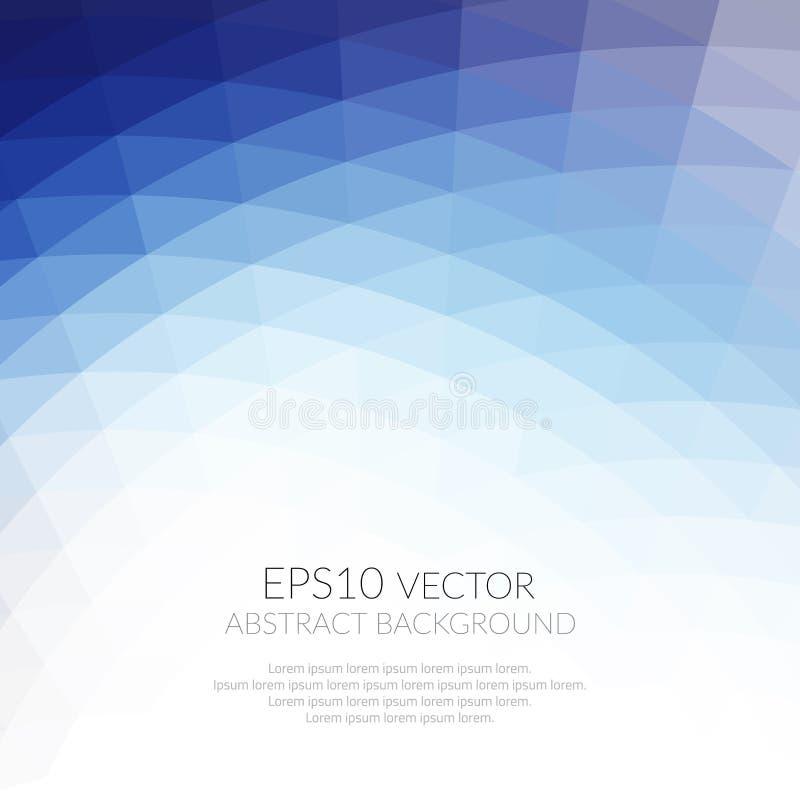 Abstrakt bakgrund med den geometriska modellen av trianglar Skuggar av blått Texturen av yttersidan och kanterna vektor illustrationer