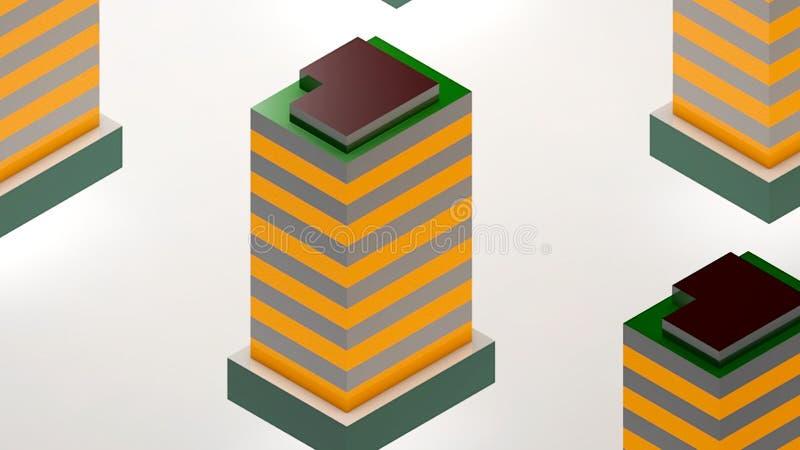 Abstrakt bakgrund med den isometriska staden royaltyfri illustrationer