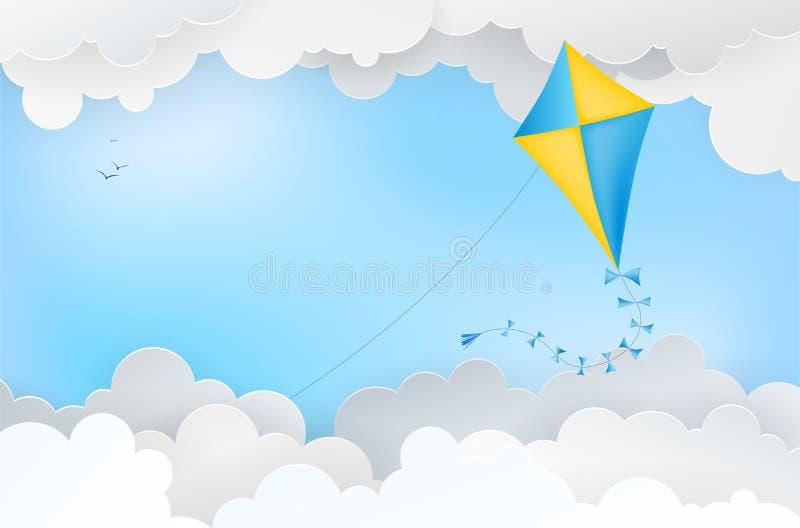 Abstrakt bakgrund med den pappers- draken, moln och fåglar stock illustrationer