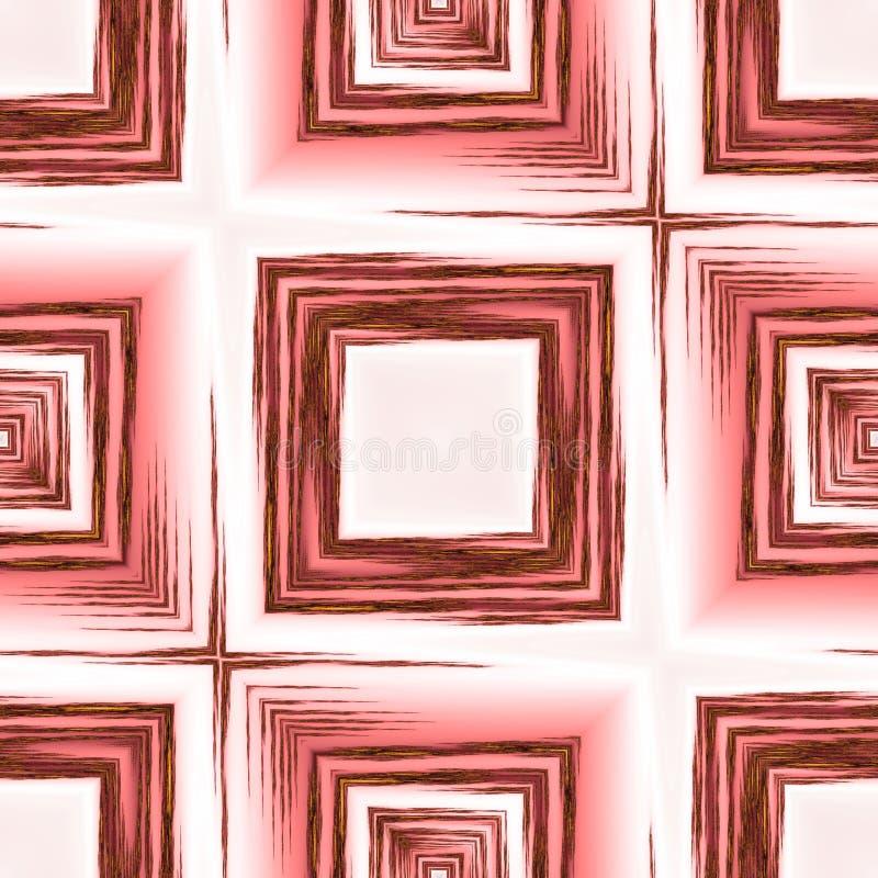 Abstrakt bakgrund med den röda träfyrkantiga prydnaden, modern grungebakgrund stock illustrationer