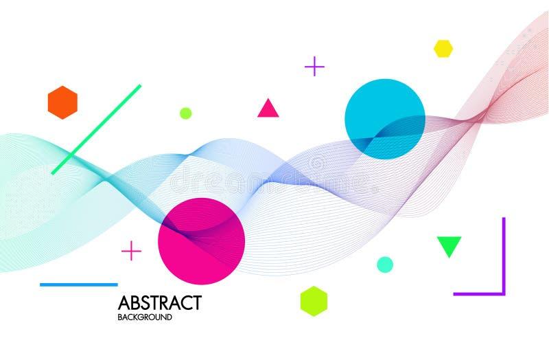 Abstrakt bakgrund med dynamiska linjära vågor För illustration för vektor för utrymmetext färgrik arkivfoton