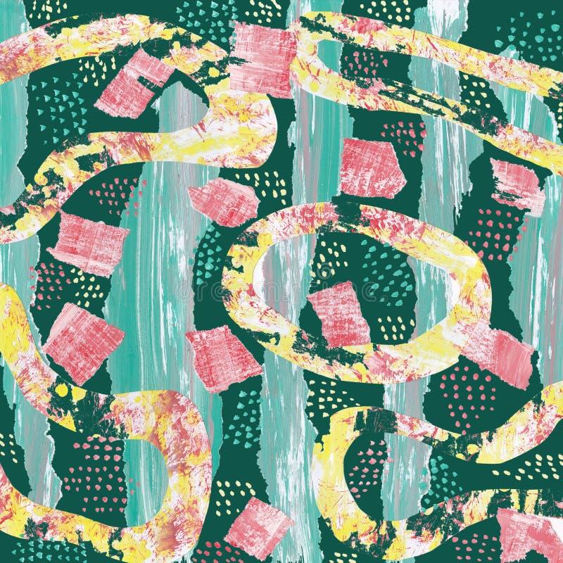 Abstrakt bakgrund med en collage av m?ng--f?rgade best?ndsdelar vektor illustrationer