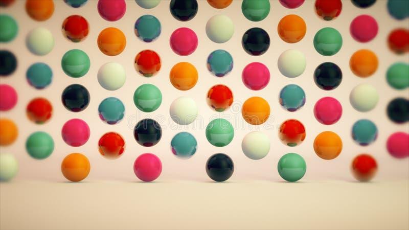 Abstrakt bakgrund med färgrika bollar och trevlig belysning royaltyfri illustrationer