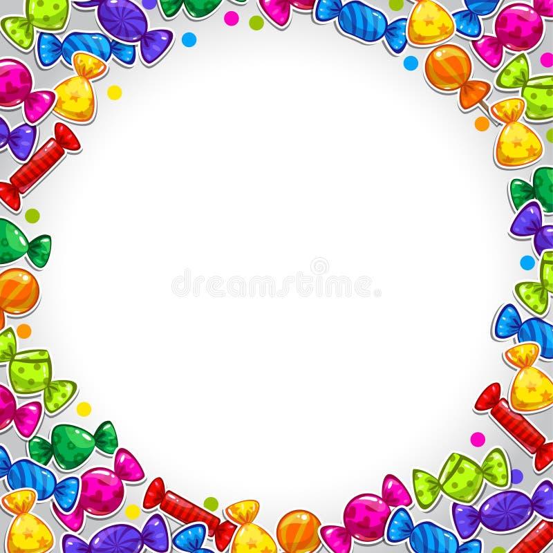 Abstrakt bakgrund med färgrika godisklistermärkear royaltyfri illustrationer