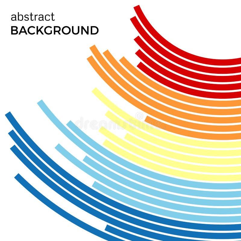 Abstrakt bakgrund med färgrika linjer för ljus regnbåge Kulöra cirklar med stället för din text stock illustrationer