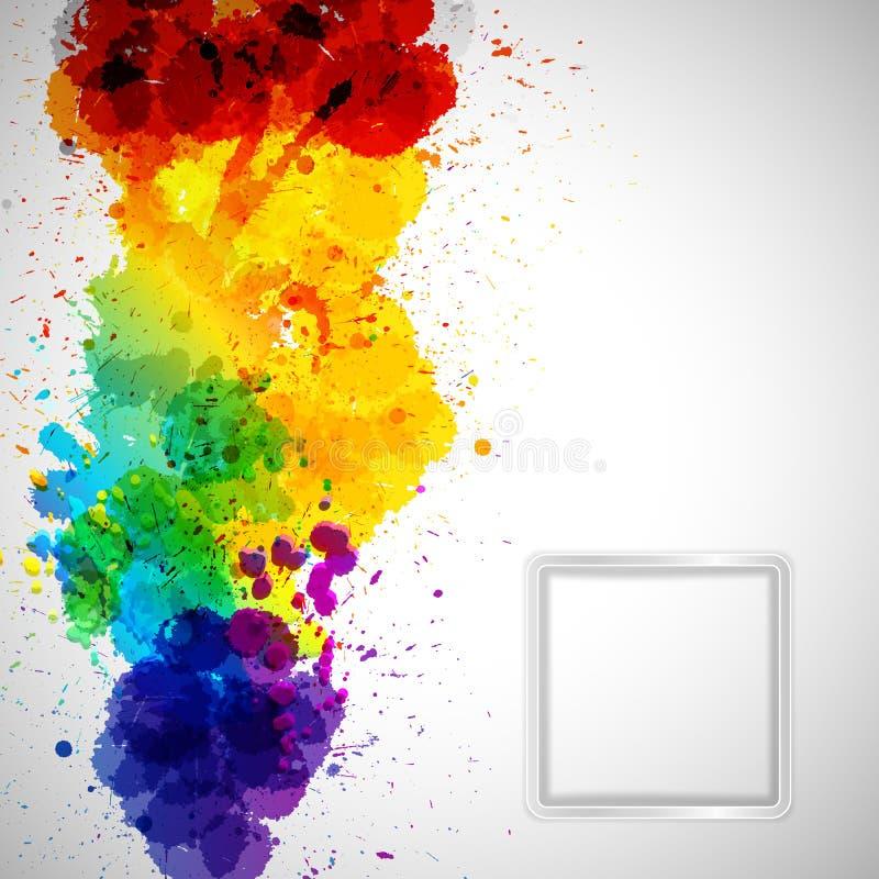 Abstrakt bakgrund med färgrika målarfärgfläckar och ram för dig stock illustrationer
