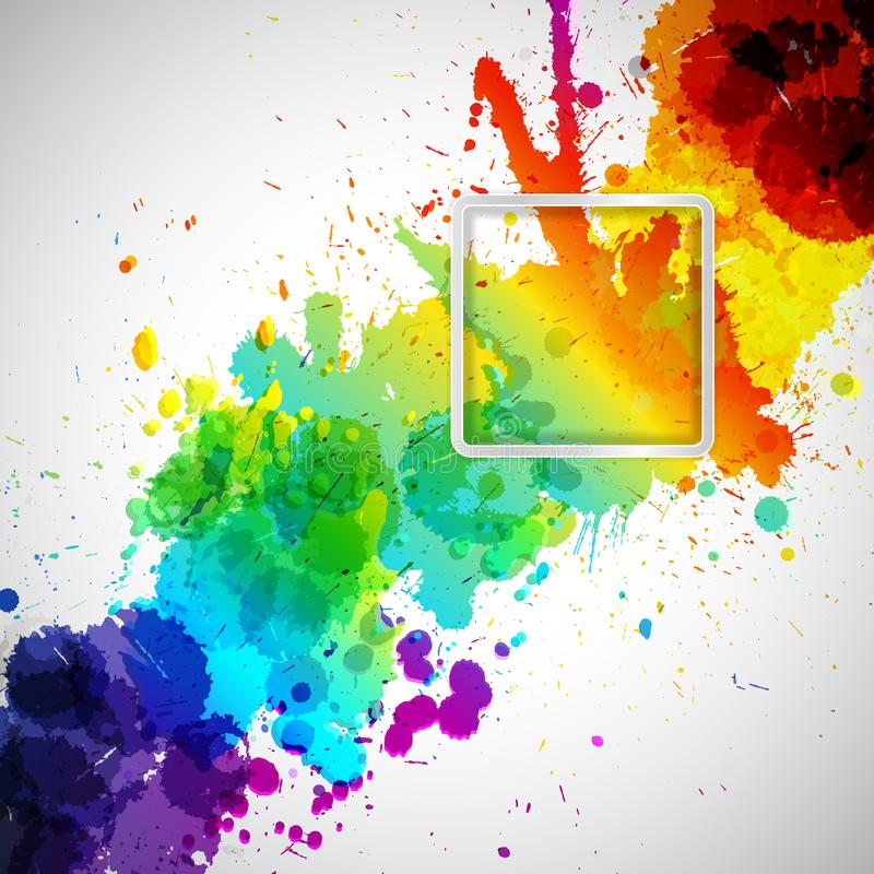 Abstrakt bakgrund med färgrika målarfärgfläckar och ram för dig vektor illustrationer