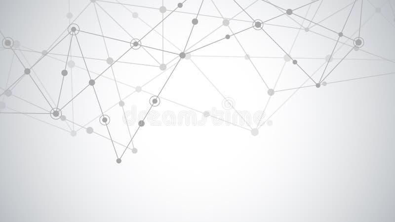 Abstrakt bakgrund med f?rbindande prickar och linjer Anslutning för globalt nätverk, digital teknologi och kommunikation royaltyfri illustrationer