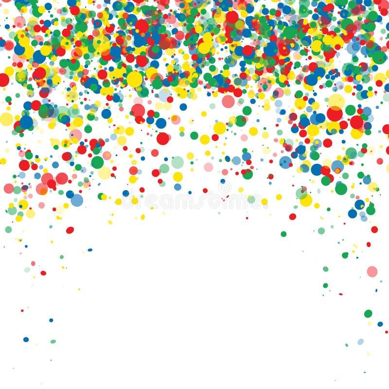 Abstrakt bakgrund med fallande mångfärgade konfettier Tomt avstånd för text Bakgrund för feriekort, hälsningar vektor illustrationer