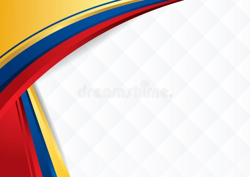 Abstrakt bakgrund med former med färgerna av flaggan av Ecuador, Colombia och Venezuela royaltyfri illustrationer