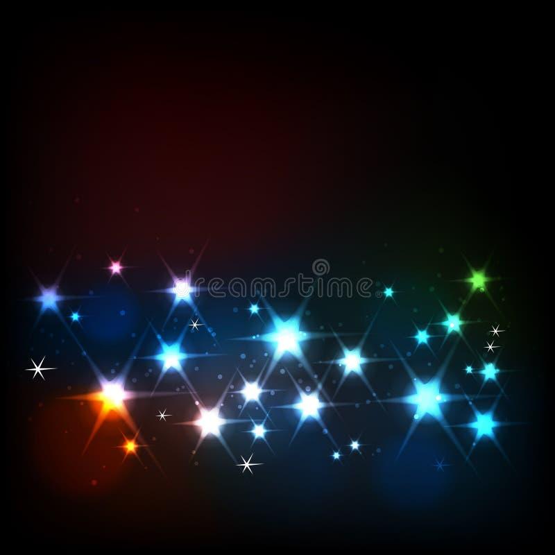 Abstrakt bakgrund med glödande stjärnor stock illustrationer