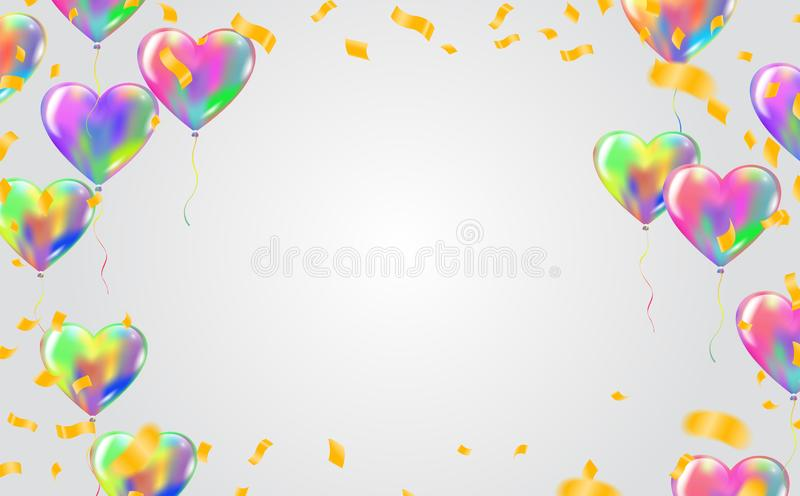 Abstrakt bakgrund med gl?nsande f?rgrika ballonger F?delsedag parti, presentation med best?ndsdelar som ?r lyckliga royaltyfri illustrationer