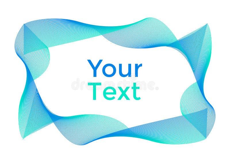 Abstrakt bakgrund med gröna och blåa kurvor, ram för din text vektor royaltyfri illustrationer