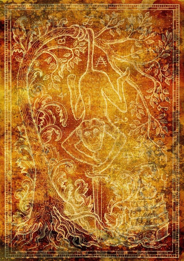 Abstrakt bakgrund med konturn av apasymbolet stock illustrationer