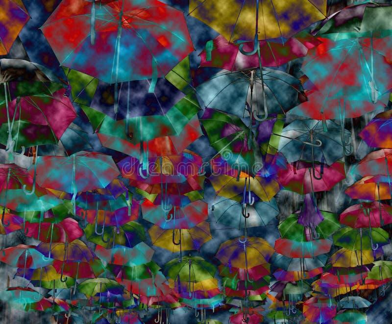 Abstrakt bakgrund med kulöra och öppna paraplyer