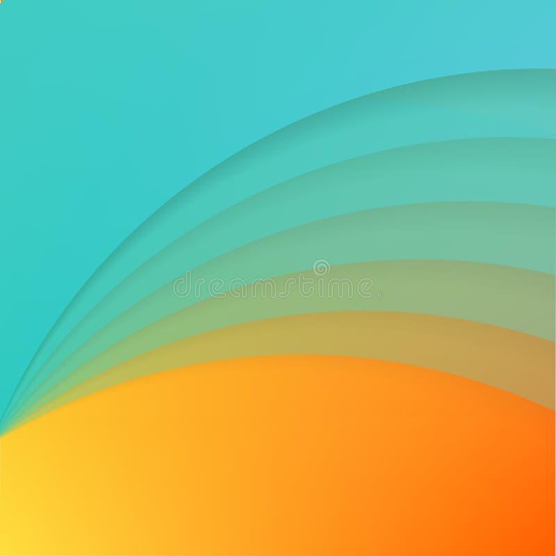 Abstrakt bakgrund med kurvor för blått papper vektor illustrationer