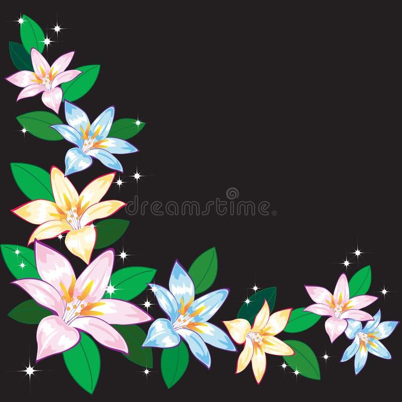Abstrakt bakgrund med liljar. stock illustrationer