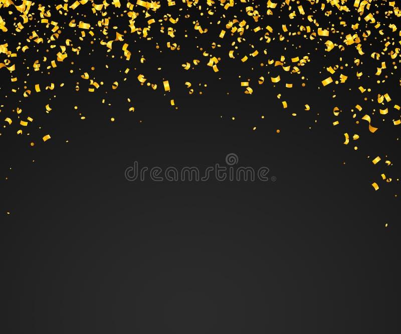 Abstrakt bakgrund med många fallande guld- mycket små konfettistycken stock illustrationer