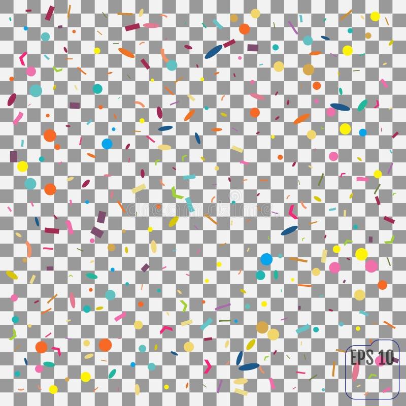 Abstrakt bakgrund med många fallande mycket små konfettistycken Vect stock illustrationer