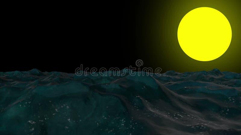 Abstrakt bakgrund med mörka havvågor vektor illustrationer