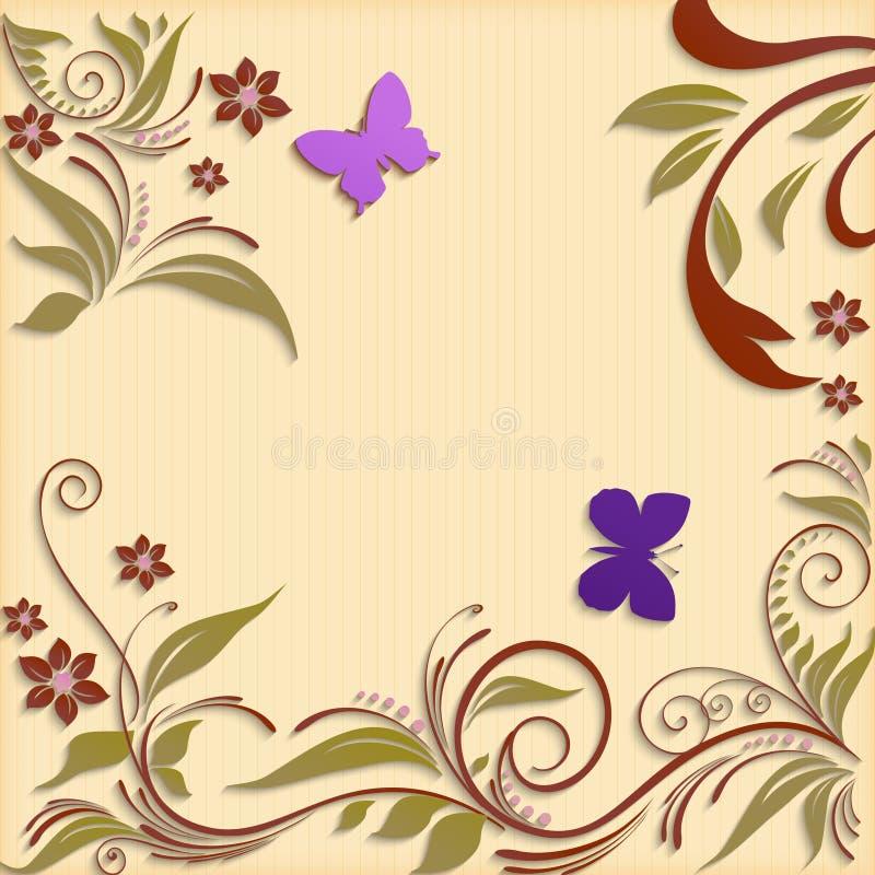 Abstrakt bakgrund med pappers- blommor och fjärilar stock illustrationer