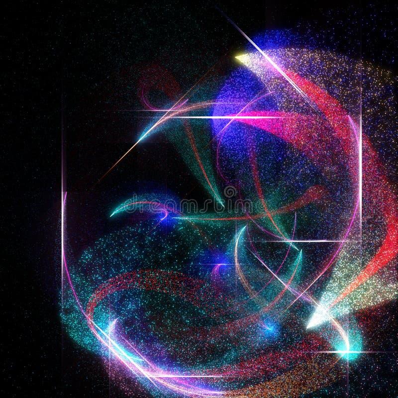 Abstrakt bakgrund med partiklar och glödlinjer stock illustrationer