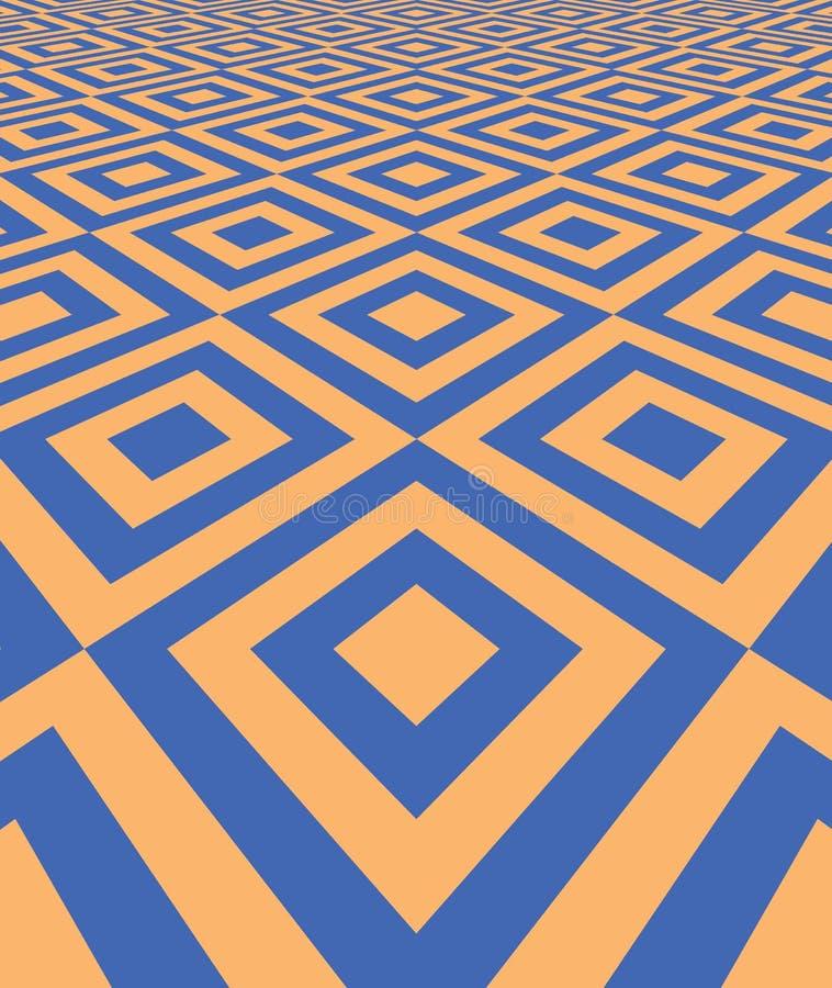 Abstrakt bakgrund med perspektiv belagt med tegel golv royaltyfri illustrationer