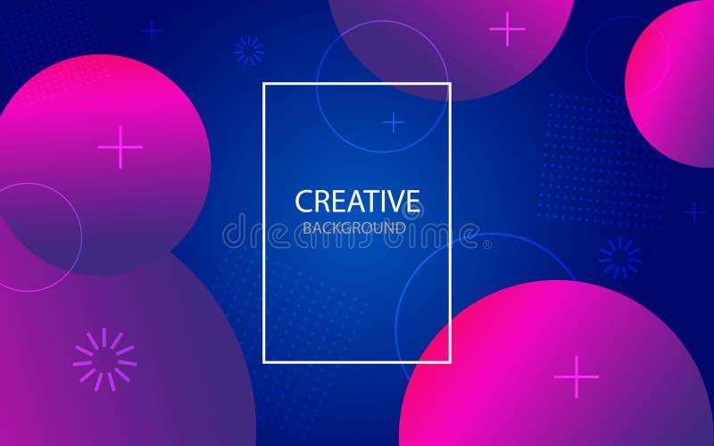 Abstrakt bakgrund med purpurfärgade och blåa färger Abstrakta geometriska cirklar på modern bakgrund Grafiskt baner, affisch med  stock illustrationer