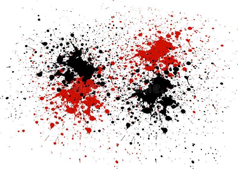 Abstrakt bakgrund med röd och svart färg plaskar stock illustrationer