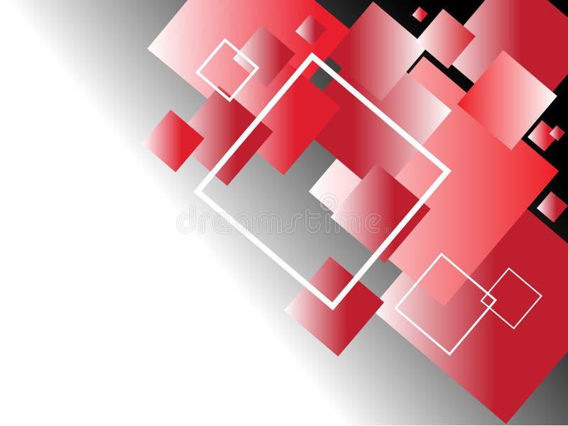 Abstrakt bakgrund med röda och vita fyrkanter för svart, royaltyfri illustrationer