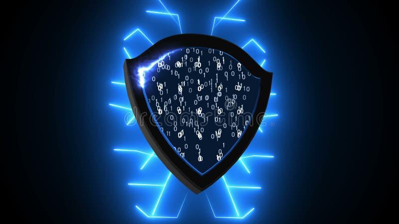 Abstrakt bakgrund med säkerhetsskölden Cyberbakgrund stock illustrationer