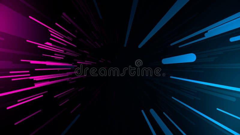 Abstrakt bakgrund med snabbt ljusa strimmor f?r flyga Neonlinjer animering stock illustrationer
