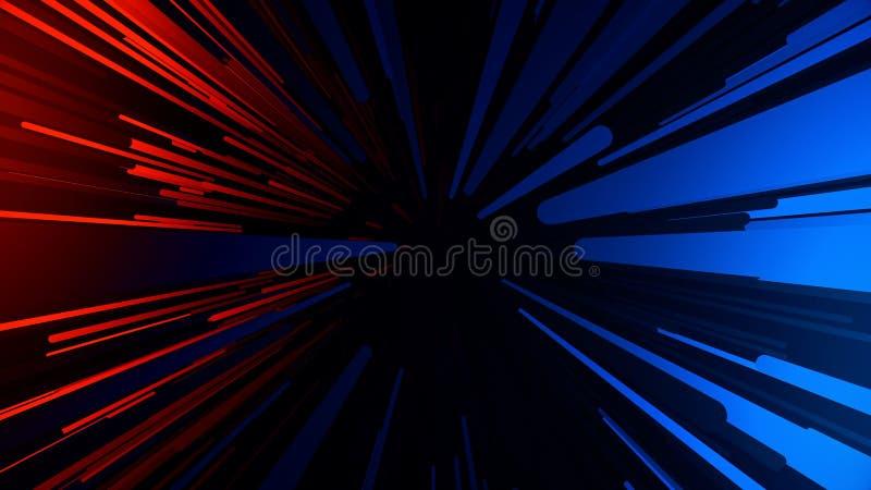 Abstrakt bakgrund med snabbt ljusa strimmor f?r flyga Neonlinjer animering royaltyfri illustrationer
