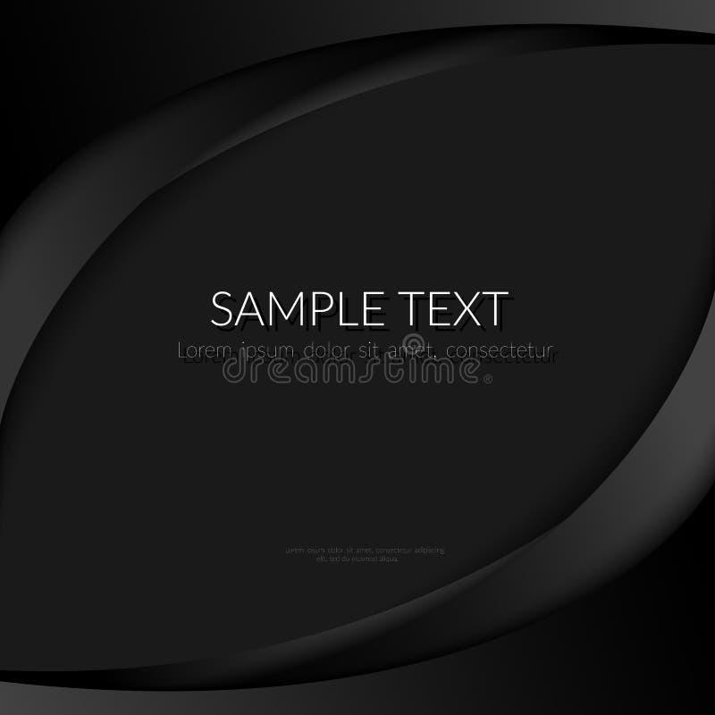 Abstrakt bakgrund med svarta krökta linjer på svarta mallar för affischer för baner för en bakgrundsbeståndsdeldesign för att sör stock illustrationer