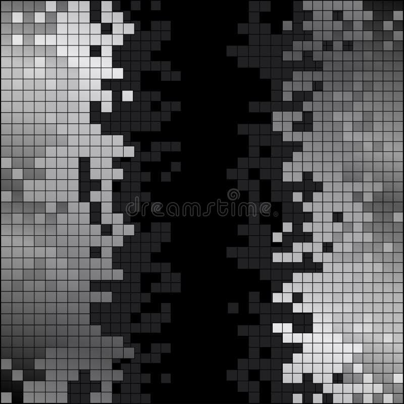 Abstrakt bakgrund med svartvita PIXEL royaltyfri illustrationer