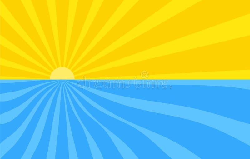 Abstrakt bakgrund med tecknad filmstrålar av guling och blått färgar Sol och hav, sommarmall för dina projekt Tecknade filmen royaltyfri illustrationer