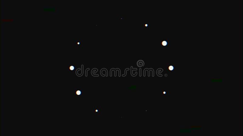 Abstrakt bakgrund med tekniskt feleffekt p? svart bakgrund djur Abstrakt prickinflyttningcirkel under p?fyllning arkivfoto