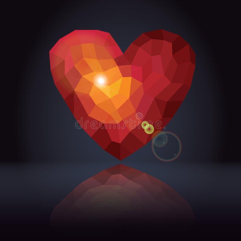Abstrakt bakgrund med trianglar - röd hjärta för polygoner stock illustrationer