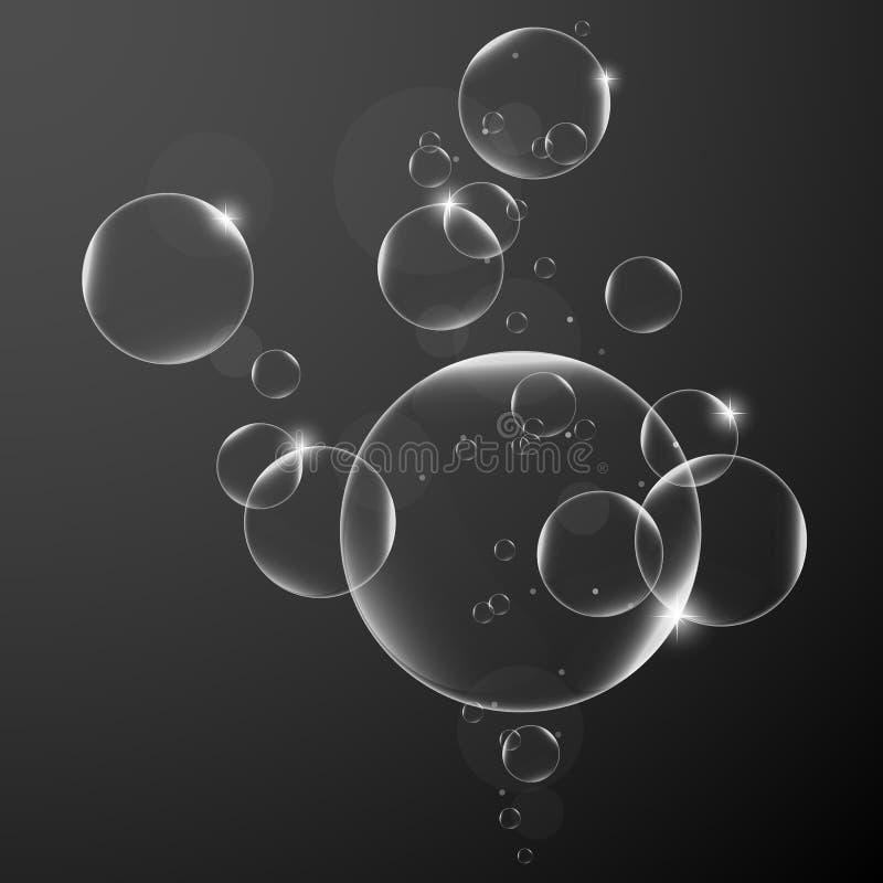 Abstrakt bakgrund med vattenbubblor på mörkt - blå bakgrund illustration för vektordesignbeståndsdel EPS10 stock illustrationer