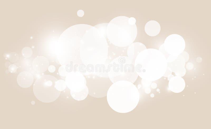 Abstrakt bakgrund med vit bokeheffekt Mall av ljus för att hälsa, inbjudankort, baner och affisch till stock illustrationer