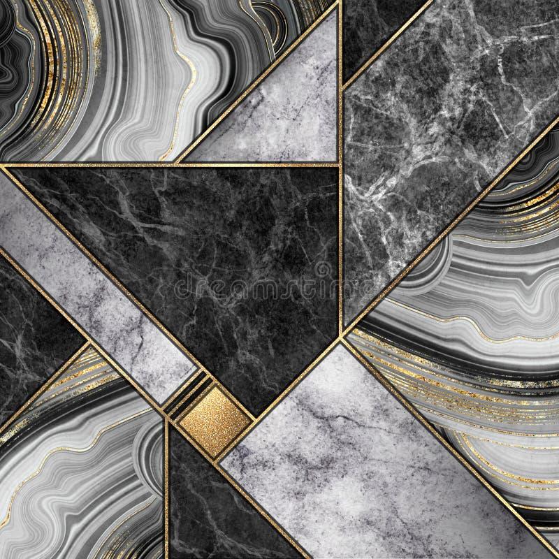 Abstrakt bakgrund, moderna mosaiktegelplattor, idérika texturer av marmorgranitagat och guld, konstnärligt målat marmorera, stock illustrationer