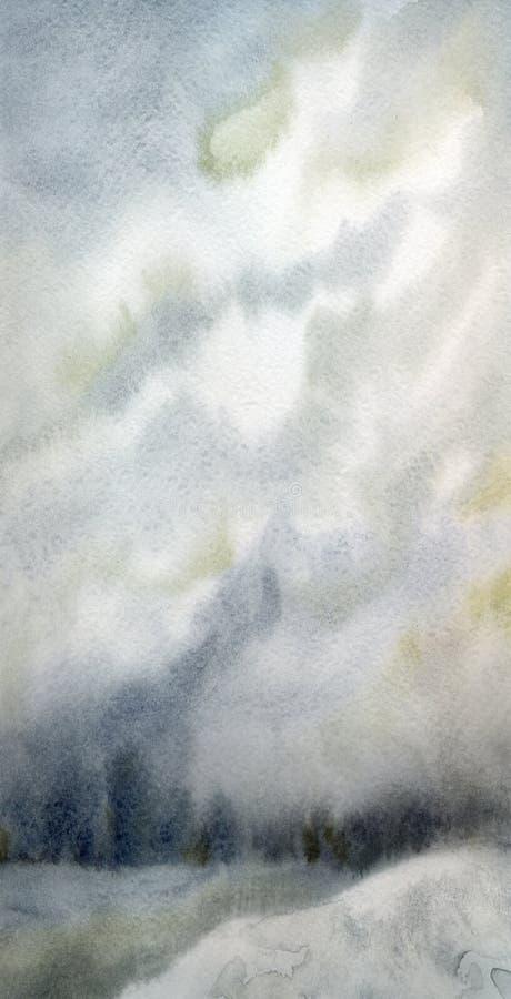 abstrakt bakgrund Snö-täckte dal och träd på kullen stock illustrationer