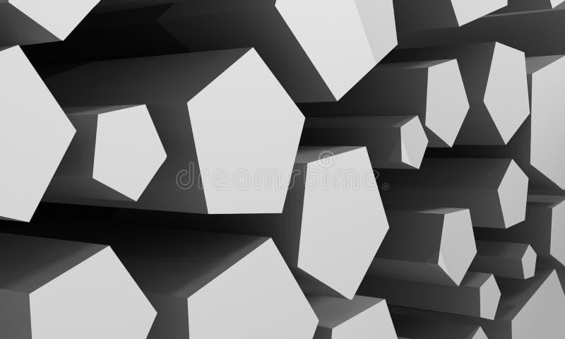 Abstrakt bakgrund som består av kubikhål av grå färg framförande 3d royaltyfri illustrationer